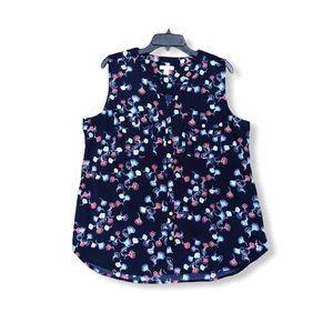 Croft & Barrow Floral Button Down V-neck Blouse